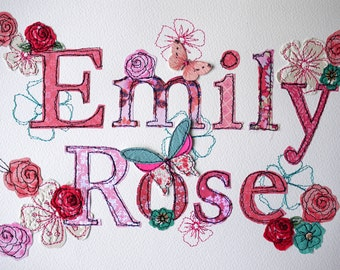 Bespoke Name- stitched- applique- paper