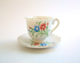 Miniature Teacup Set, Doll Teacup Set, Mini Teacup Set, Floral Teacup Set, Mini Teacup & Saucer, Teacup, Saucer, Blue and White, Doll Dishes