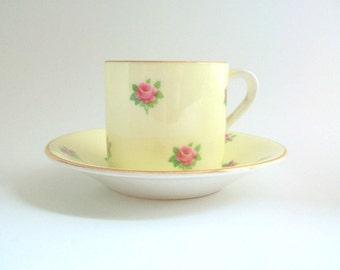 Demitasse Teacup, Yellow Teacup, Yellow Demitasse, Teacup & Saucer, Teacup Set, Floral Teacup, Floral Demitasse, Vintage Teacup Set
