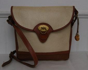 Dooney and Bourke Handbag - Vintage Ivory White Pebble British Tan Leather
