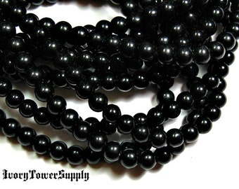 1 Strand 6mm Black Obsidian Beads, Gemstone Beads, Black Beads, Natural Stone Beads, Semi Precious Beads, Round Beads