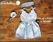 Super Stretchy - 0-12 Month Size- 1 of a kind-Crochet Boutique Baby Dress - Vintage Collection- 0-12 Month Size