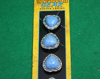 Vintage Western Style Silver and Turquoise Button Covers NOS
