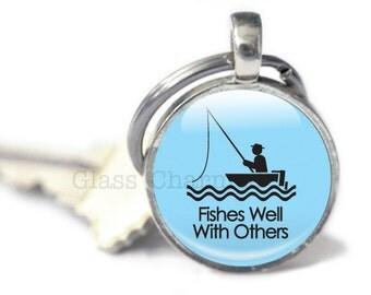 Fishing Keychain, Fish Keychain, Blue Fishing Keychain, Fishing Gifts (fishing 7)