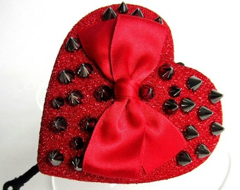 50% SALE - Heart headpiece - red sparkly fabric, with spikes and red bow