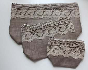 """Set of 3 Linen Cosmetic Bags (Makeup Bags) """"Lace and Linen"""" - Rustic Style"""