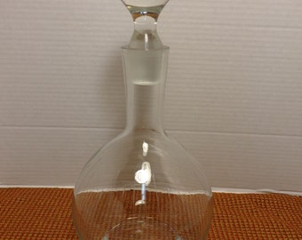 Romania Vintage Glass Global Decanter and Stopper Made in Roamania