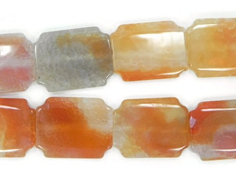 3 rectangle fire agate beads,orange beads