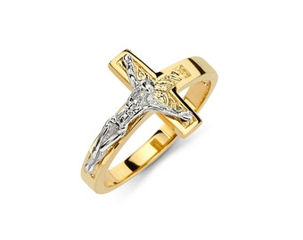 14K Two Tone Crucifix Ring, Crucifix Ring Crucifix Jewelry, Cross Jewelry, Religious Jewelry, Cross Ring, Crucifix Ring, Crucifix Jewelry