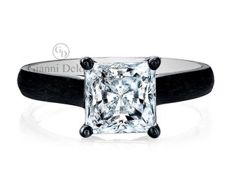 Solitaire Princess Cut 6.5mm Forever Brilliant Moissanite Engagement Ring and 0.02 ct.tw Round Black Diamonds