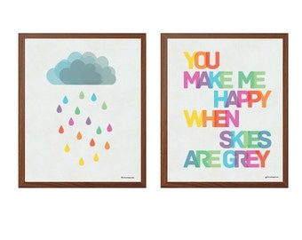 NURSERY |  Set Of Two Poster: You Make Me Happy Modern Typography Art Wall Decor Print 8 x 10 | INSTANT Digital Download Printable