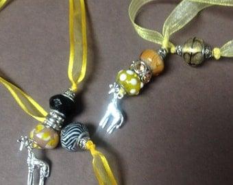 Ribbon beaded Bookmark--giraffe
