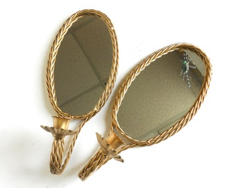 "13"", Pair of Oval Wall Mirrors,Iron Candle Sconces, Oval Mirror Candle Sconces, Gold Frame Mirror Sconces,Candles Sconce Gold Frame Set,13x6"