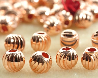 100 pcs of  Rose Gold plated bead,smooth bead,  Ribbed round bead,Copper Spacer beads  in 4mm