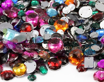 Bulk Loose Sew On Gems Rhinestones Jewels Over 700 Pieces Assorted Colors & Sizes