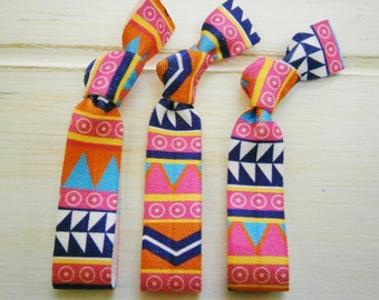 Aztec - Set of 3 Aztec Chevron Hair Ties by Crimson Rose Cottage/Boho Elastic Hair Tie/Boho Soft Bracelet
