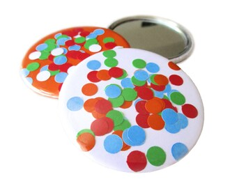 "Confetti, pocket mirror, compact mirror, 59mm, Ø 2.25 inch, diameter 2.25"", 2 1/4"