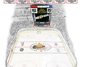 """Chicago Blackhawks 2015 Stanley Cup United Center Pencil Drawing - 11x14"""""""