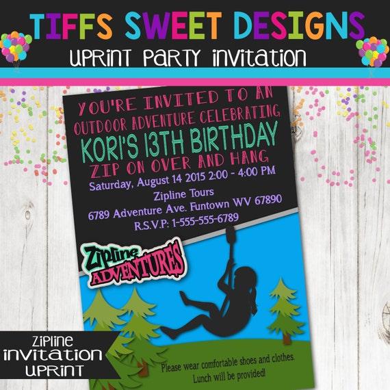 Zip Line Birthday Party Zip Line Invitation Girls Outdoor
