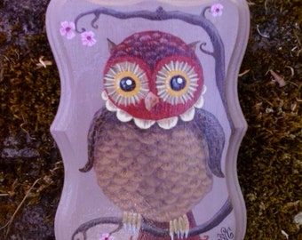 Owl painting on decorative wood plaque