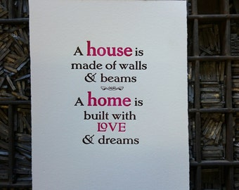 Print: A House, A Home, hand printed letterpress, an ideal housewarming or birthday gift
