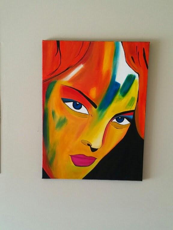 Abstrait visage femme portrait moderne acrylique abstrait - Peinture sur visage ...