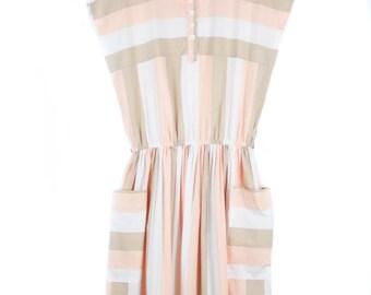 Vintage 80s Stripe Summer Dress, 90s fashion, 80s fashion, 90s dress, summer dress, dress with pockets, day dress, stripey dress
