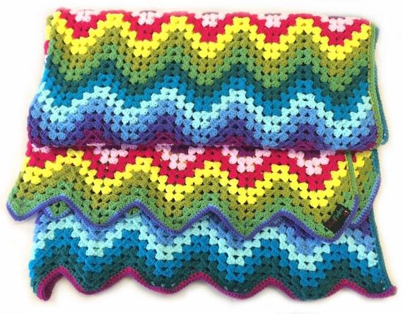 Crochet Zigzag Blanket : Wool Monkey Crochet Zig Zag Granny Blanket by LouTheWoolMonkey