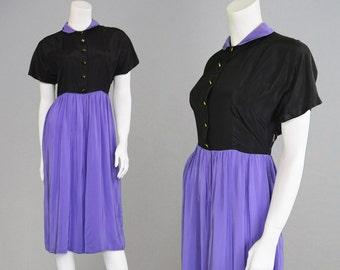 Vintage 40s Party Dress Black & Purple Taffeta Dress A Line Skirt Peter Pan Collar 1940s Evening Dress Swing 1940s Black Dress Satin Dress
