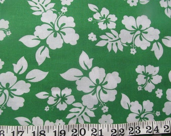 Tropical Hibiscus Floral Hawaiian Green Cotton Quilting Sewing Fabric, Remnant 252-9