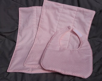 Polka Dot Bib & Burp Cloth Set
