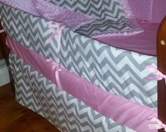 TODAY ONLY***Grey chevron and solid minky 4 piece crib set