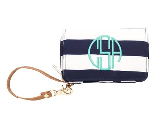 Monogrammed Navy Stripe  Wristlet and Smartphone Holder