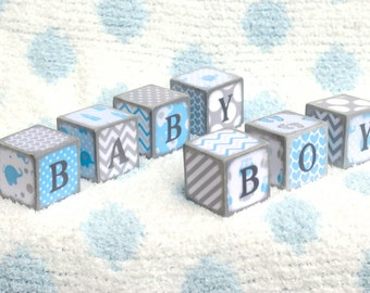 Wooden Baby Blocks BABY BOY- Baby Blue/White/Gray