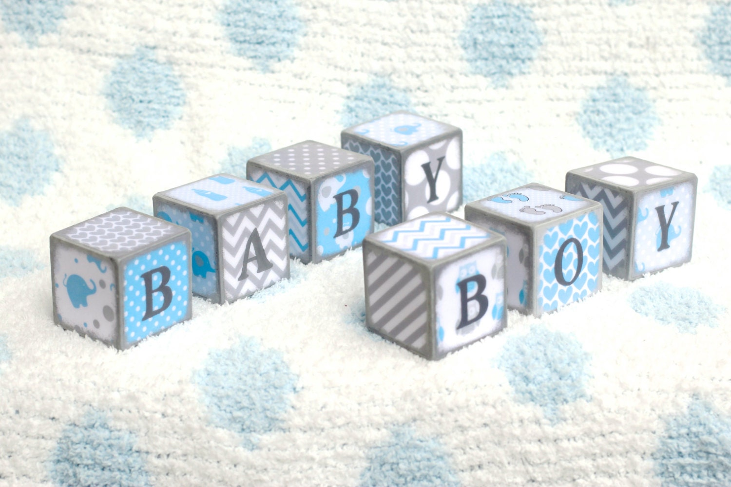 wooden baby blocks baby boy blocks baby bluewhitegray