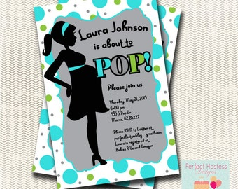 She's going to POP! Baby Shower Invitation