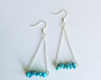 ON SALE Turquoise and Chain Earrings