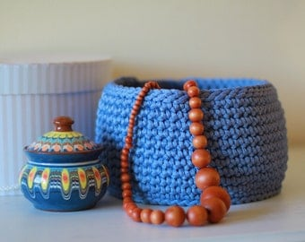 Crocheted Storage Basket, blue Basket, Hand Crocheted, Storage Solutions, home decor