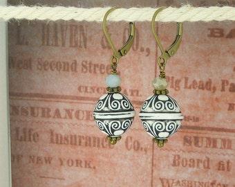 bronze earrings ornament black and white