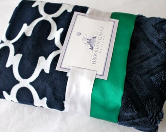 Navy and White Dolce Vita Lattice with Solid Navy Embossed Chevron Minky - Kelly Green Satin Trim, Minky Baby Blanket, Girl or Boy, Nautical