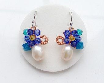 White Pearl Earrings , Blue Dangle earrings , Pearl Drop Earrings, White Fresh water pearl earrings , wedding jewelry , Small earrings