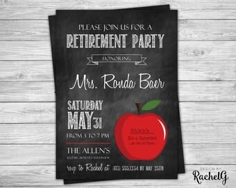 Teacher Retirement Party Chalkboard Invitation - Digital File PDF or JPG