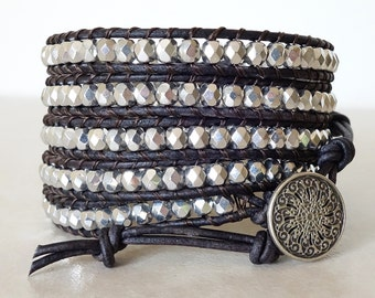 Boho silver on brown leather wrap bracelet/ Gypsy czech glass ladder bracelet/ Bohemian 5 wrap yoga bracelet