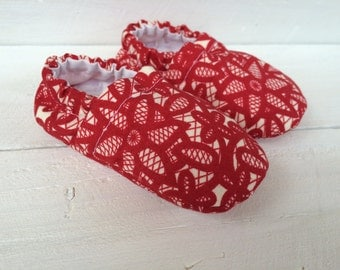 Red Lace-Patterned Shoes. Baby Shoes. Red Baby Shoes. Lace Baby Shoes.