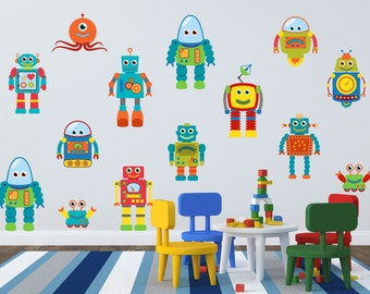 Robot Wall Decal - Robot Wall Art - Boys Room Wall Decals - Boy Room Wall Art