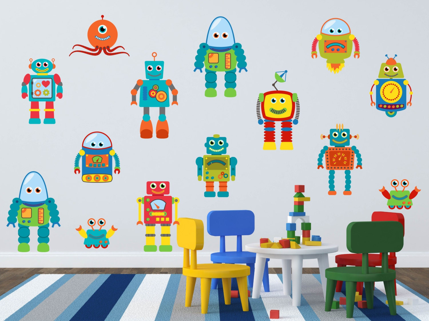 robot wall decal robot wall art boys room wall decals zoom
