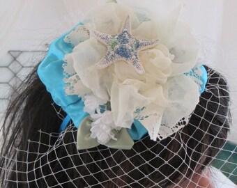 Wedding Hat Headpiece, Wedding Fascinator, Beach Headpiece, Birdcage Veil