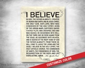 Apostles Creed Art - Subway Art - Typographic Art - Inspirational Quote - Motivational Words - Christian Art - Faith - CUSTOM COLOR