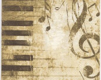 Decoupage Napkins | Classical Music Piano Keys Music Notes | Music Napkins | Piano Napkins | Recital Napkins | Paper Napkins for Decoupage