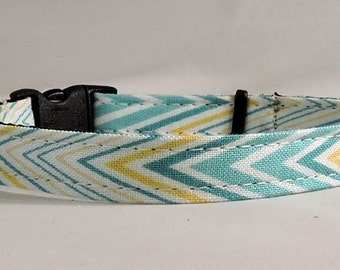 Cat Collar or Kitten Collar - Teal Chevron